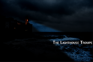 The Lighthouse Troupe, image of a lighthouse with a spotlight shining on the dark waves.