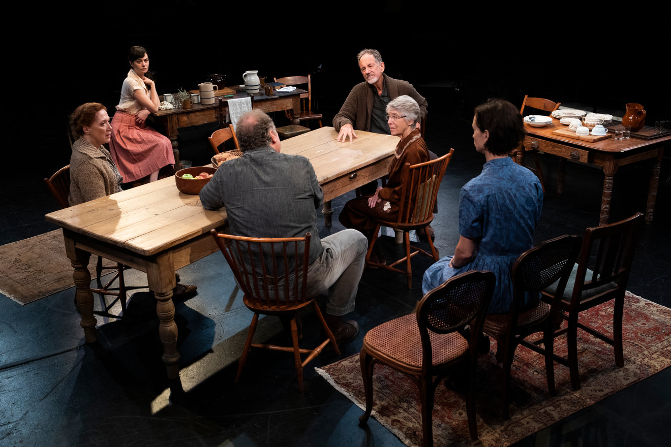 The company of Uncle Vanya in the New York premiere of Uncle Vanya, translated by Richard Nelson, Richard Pevear and Larissa Volokhonsky, and directed Nelson, running through October 14 at The Hunter Theater Project.  Photo credit: Joan Marcus