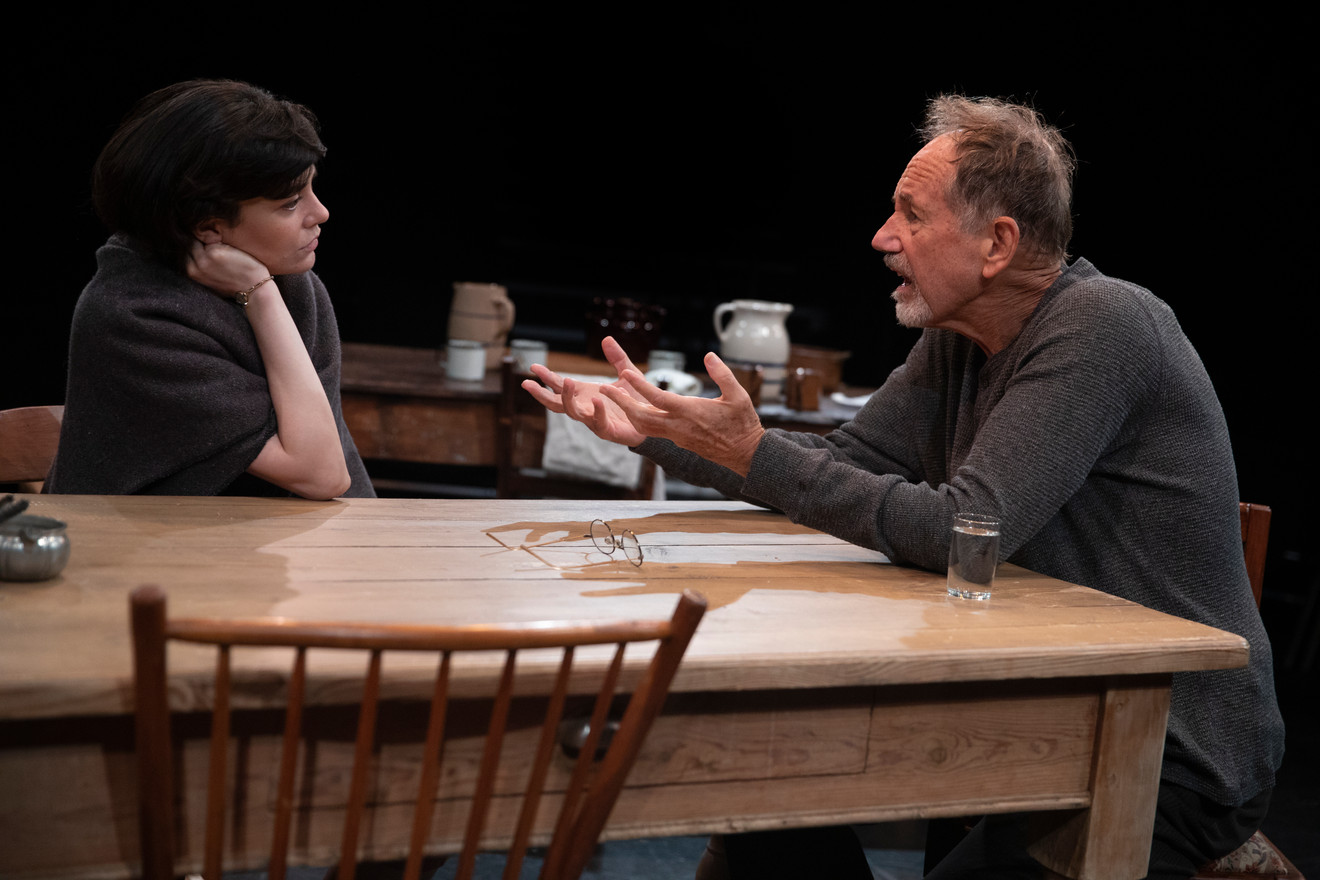 Celeste Arias and Jon DeVries in the New York premiere of Uncle Vanya, translated by Richard Nelson, Richard Pevear and Larissa Volokhonsky, and directed Nelson, running through October 14 at The Hunter Theater Project.  Photo credit: Joan Marcus