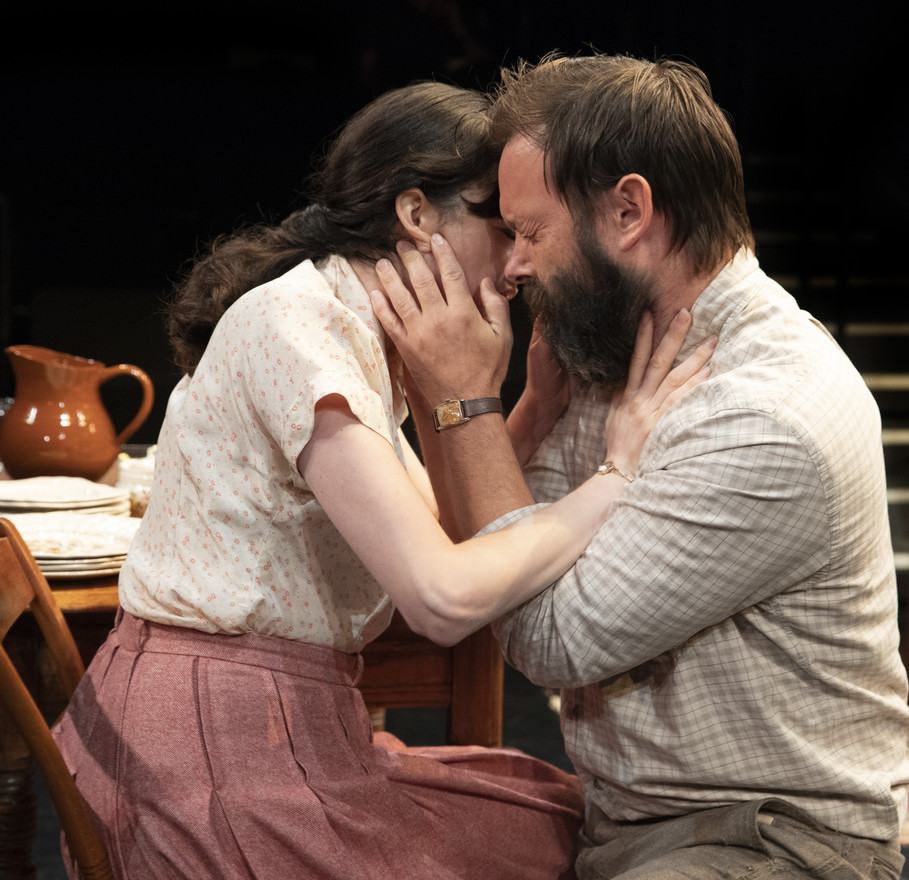 Celeste Arias and Jesse Pennington in the New York premiere of Uncle Vanya, translated by Richard Nelson, Richard Pevear and Larissa Volokhonsky, and directed Nelson, running through October 14 at The Hunter Theater Project.  Photo credit: Joan Marcus