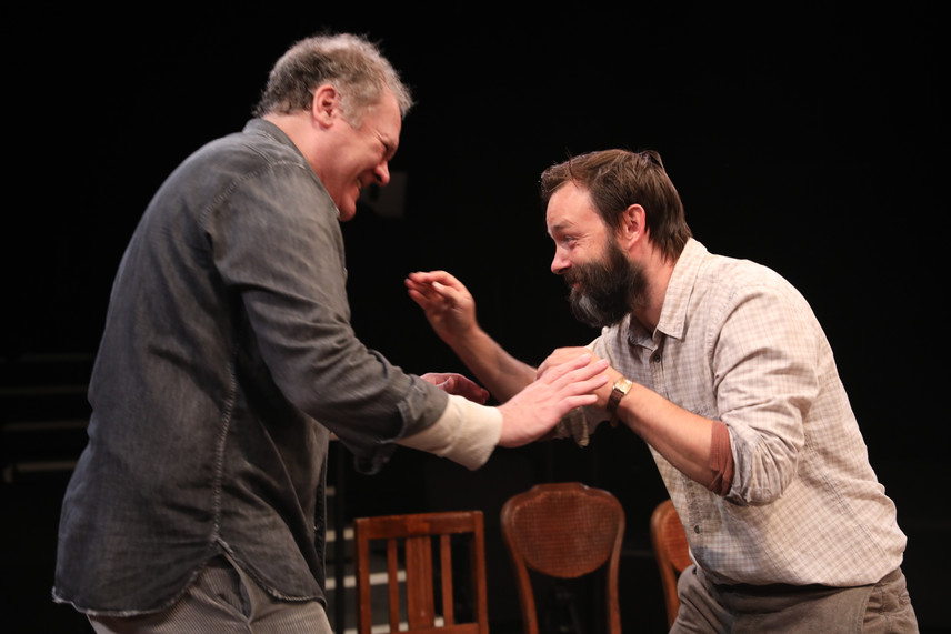 Jay O. Sanders and Jesse Pennington in the New York premiere of Uncle Vanya, translated by Richard Nelson, Richard Pevear and Larissa Volokhonsky, and directed Nelson, running through October 14 at The Hunter Theater Project.  Photo credit: Joan Marcus
