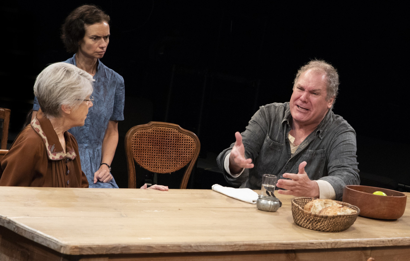 Alice Cannon, Yvonne Woods, and Jay O. Sanders in the New York premiere of Uncle Vanya, translated by Richard Nelson, Richard Pevear and Larissa Volokhonsky, and directed Nelson, running through October 14 at The Hunter Theater Project.  Photo credit: Joan Marcus