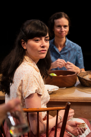 Celeste Arias (foreground) and Yvonne Woods in the New York premiere of Uncle Vanya, translated by Richard Nelson, Richard Pevear and Larissa Volokhonsky, and directed Nelson, running through October 14 at The Hunter Theater Project.  Photo credit: Joan Marcus