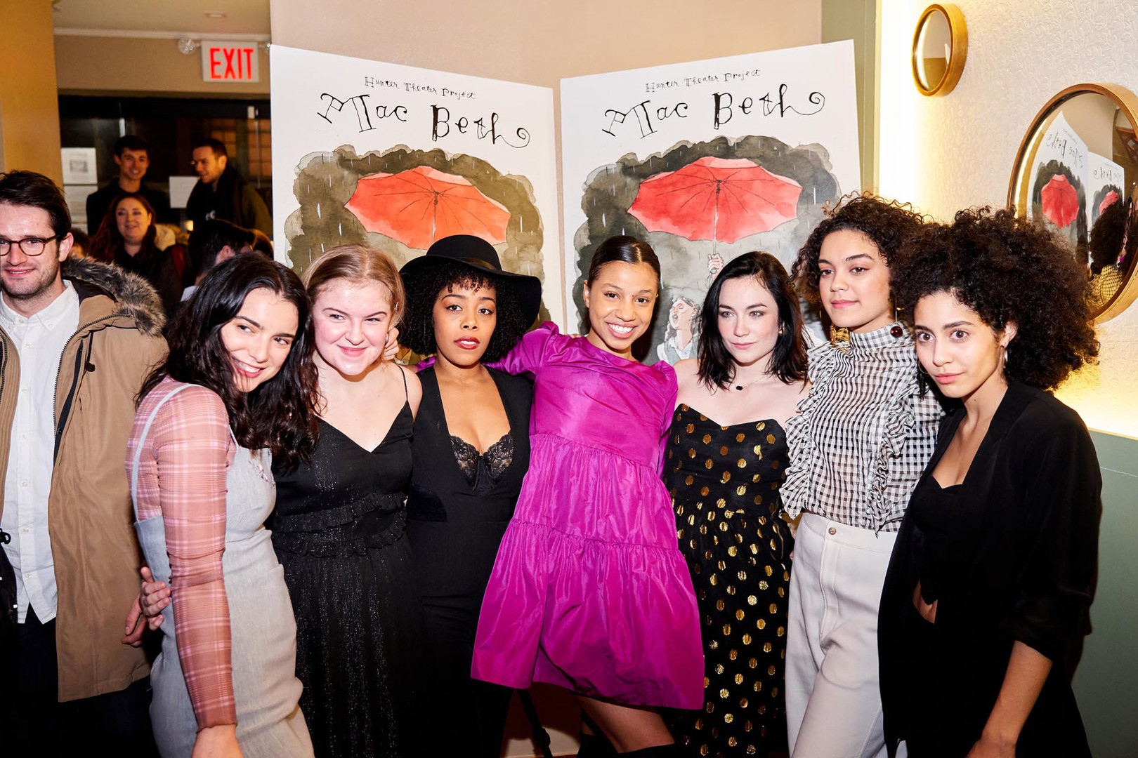 MAC BETH opening Night, 1/16/2020 at Palais by Perfect Pie: Dylan Gelula, Sophie Kelly-Hedrick, Brittany Bradford, Ayana Workman, Ismenia Mendes, Camila Canó-Flaviá, Sharlene Cruz