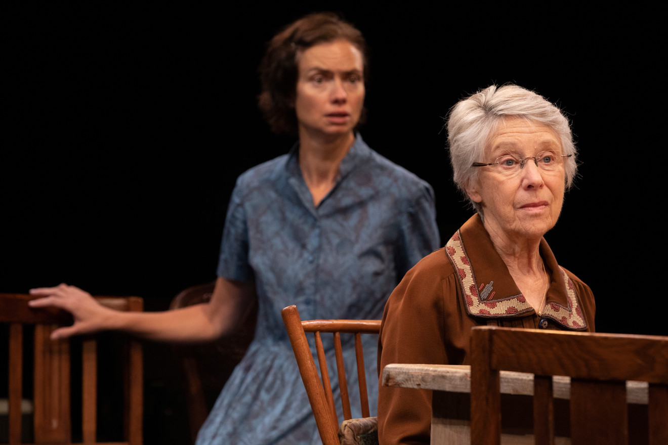 Alice Cannon (foreground) and Yvonne Woods in the New York premiere of Uncle Vanya, translated by Richard Nelson, Richard Pevear and Larissa Volokhonsky, and directed Nelson, running through October 14 at The Hunter Theater Project.  Photo credit: Joan Marcus
