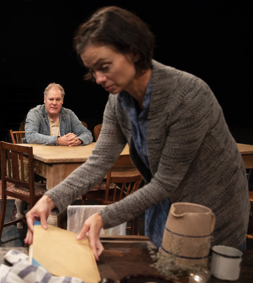 Jay O. Sanders and Yvonne Woods in the New York premiere of Uncle Vanya, translated by Richard Nelson, Richard Pevear and Larissa Volokhonsky, and directed Nelson, running through October 14 at The Hunter Theater Project.  Photo credit: Joan Marcus
