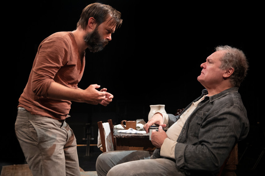 Jesse Pennington and Jay O. Sanders in the New York premiere of Uncle Vanya, translated by Richard Nelson, Richard Pevear and Larissa Volokhonsky, and directed Nelson, running through October 14 at The Hunter Theater Project.  Photo credit: Joan Marcus