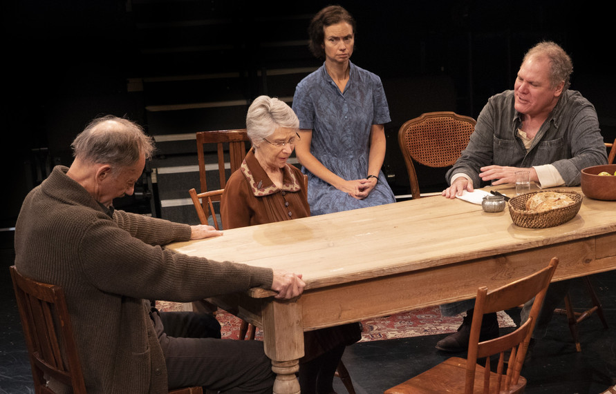 Jon DeVries, Alice Cannon, Yvonne Woods, and Jay O. Sanders in the New York premiere of Uncle Vanya, translated by Richard Nelson, Richard Pevear and Larissa Volokhonsky, and directed Nelson, running through October 14 at The Hunter Theater Project.  Photo credit: Joan Marcus