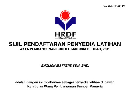 English Matters is HRDF Certified! (Now known as HRDCorp) ⭐️