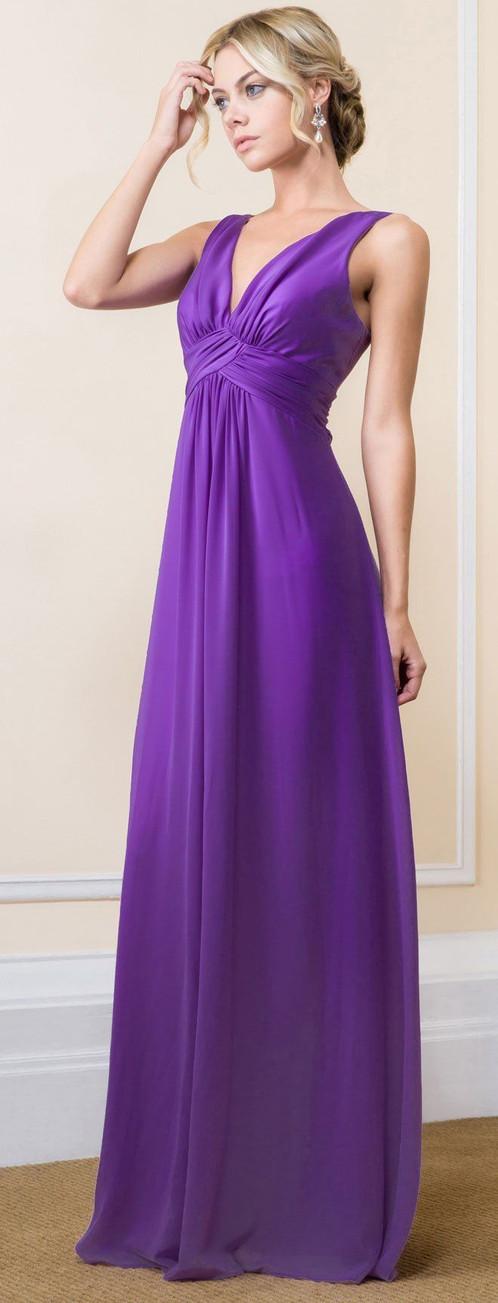 Deep V-neck Ruched Bust Long Formal Bridesmaid Dress | Eurasian ...