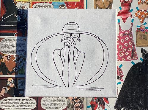 "Big Hat Hand Drawn Prepared Canvas, 10""x10"""