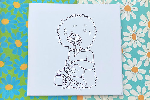 """Woman with Coffee Hand Drawn Prepared Canvas 10""""x10"""""""