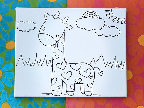 Hand-Drawn Giraffe Illustration on White Stretched Canvas: DIY Painting Activity
