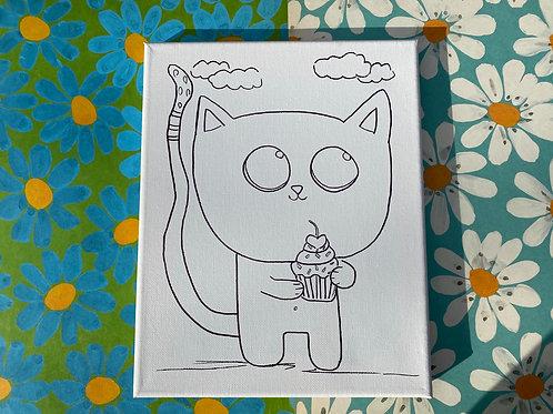 """Cupcake Kitty Hand Drawn Prepared Canvas, 10"""" x 10"""""""