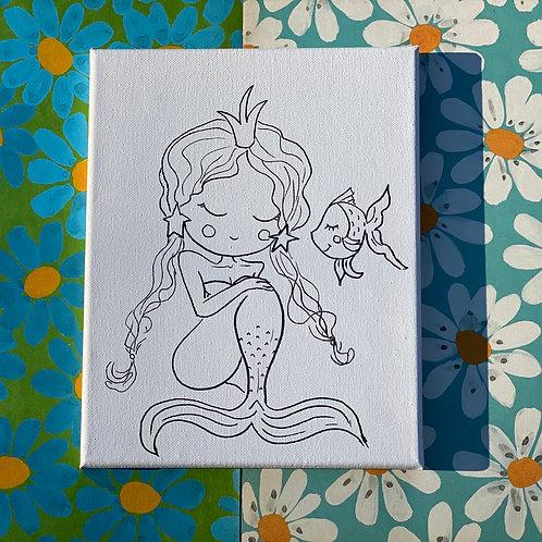 """Cute Mermaid Hand Drawn Prepared Canvas, 10"""" x 10"""""""