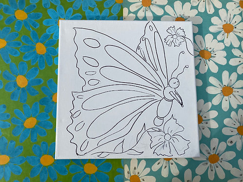 """Butterfly Hand Drawn Prepared Canvas, 10""""x10"""""""