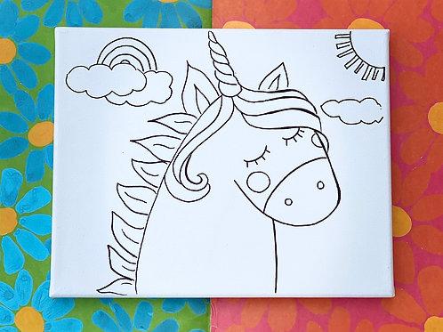 "Unicorn Hand Drawn Prepared Canvas, 10"" x 10"""