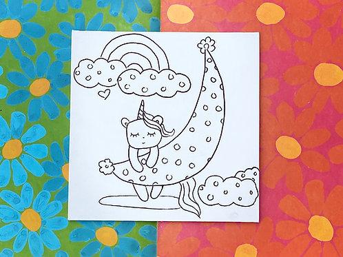"Hand-Drawn ""Unicorn on the Moon"" Illustration on Canvas Board: DIY Painting Acti"