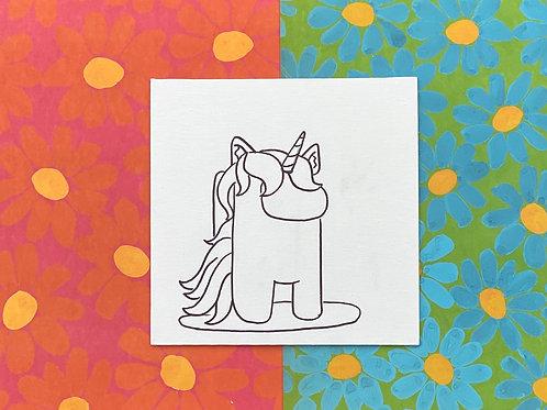 "Among Us Unicorn Hand Drawn Prepared Canvas Board 8""x8"""