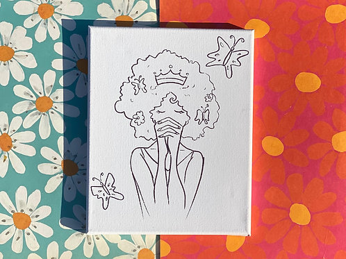 """Butterfly Girl Hand Drawn Prepared Canvas, 10""""x10"""""""