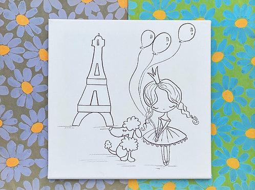 """Paris Ballerina Hand Drawn Prepared Canvas 10""""x10"""""""
