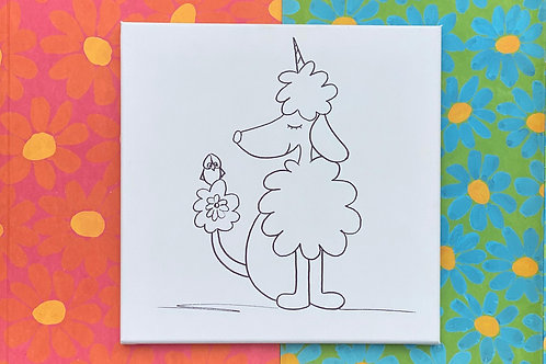 "Poodle Hand Drawn Prepared Canvas 10""x10"""