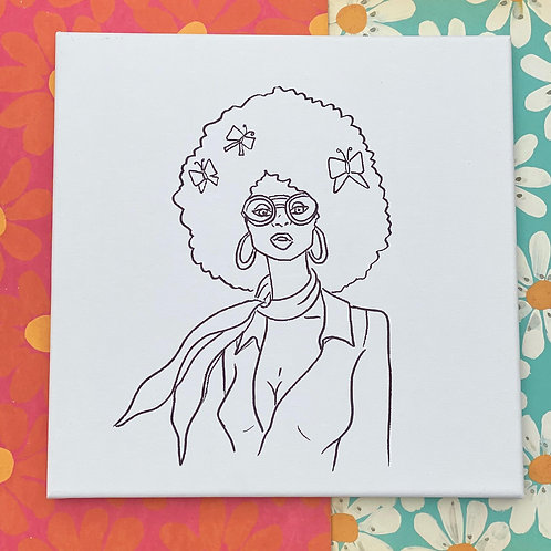"Chic Woman Hand Drawn Prepared Canvas 10""x10"""