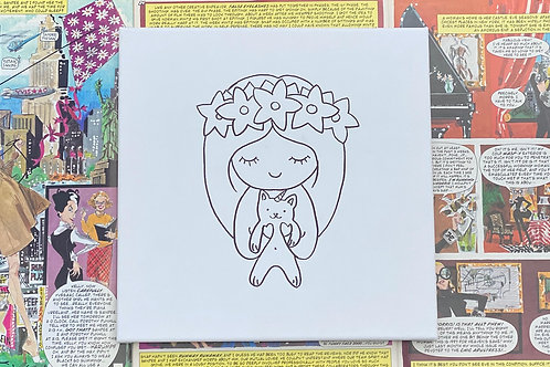 """Girl and Kitty hand drawn prepared canvas 8""""x8"""""""