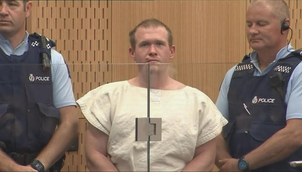 Brenton Tarrant in one of this first court appearances (Newshub)