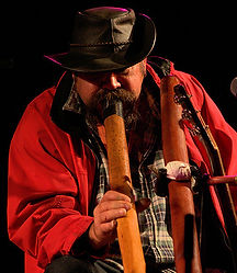 Didgeridoo player Mark Atkins performing at Didgeridoo Festivals Brisbane Queensland Australia