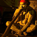 Didgeridoo player Adrian Burragubba performing at Didgeridoo Festivals Brisbane Queensland Australia
