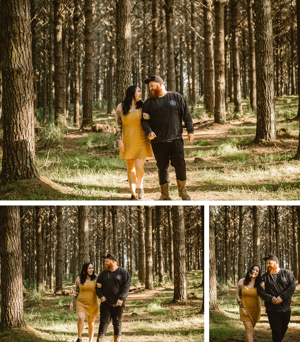 pre wedding session photos in waiuku forest, auckland, new zealand.