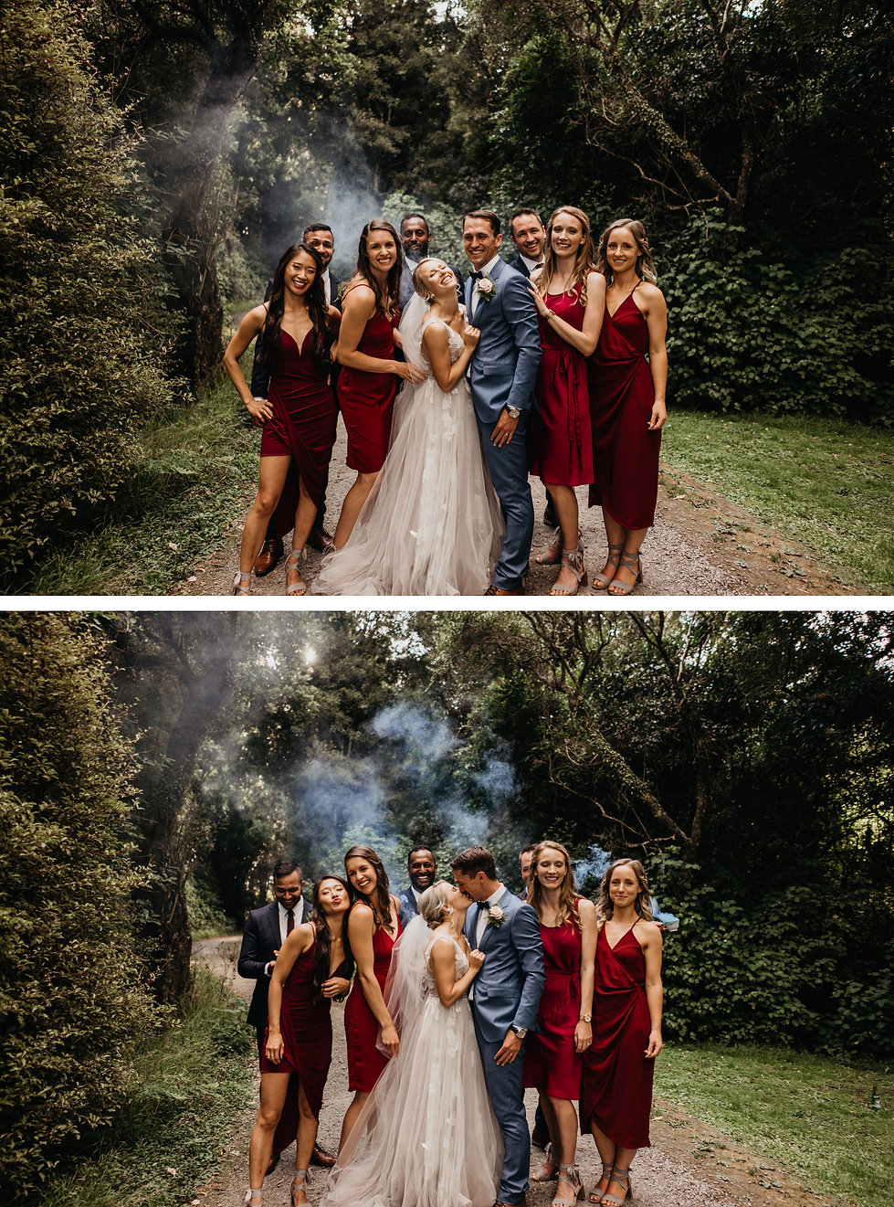 wellington wedding, smoke bomb wedding photos
