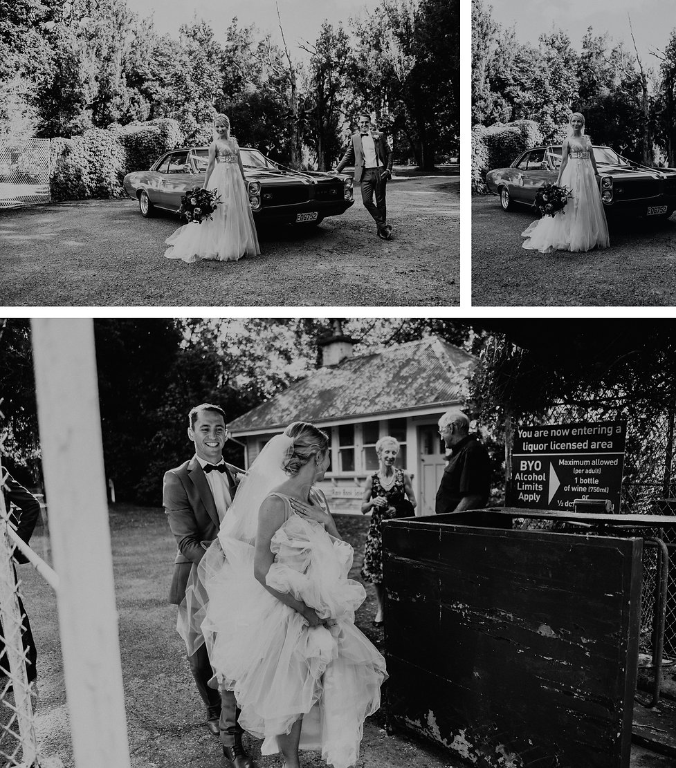 bridal photos at rose & smith, wellington wedding venue, with vintage hire cars