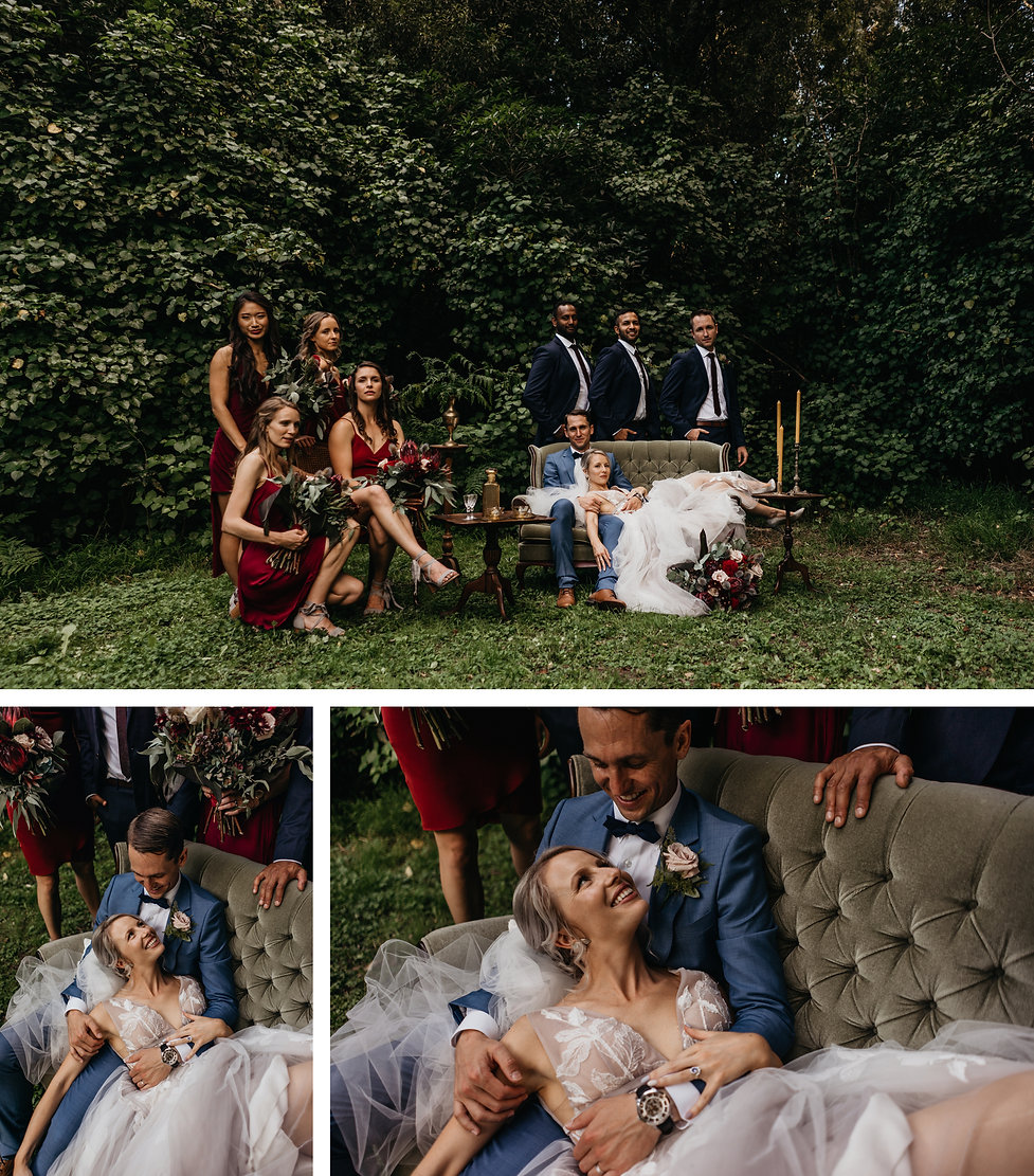 vouge styled vintge wedding photos, couches, bridal party, wellington wedding venue