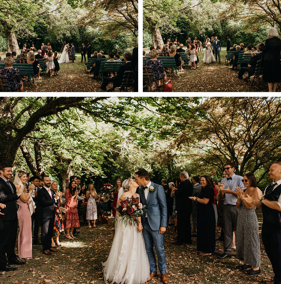 wedding ceremony at rose & smith in featherston, captured by wanderlusting lovers, aisle kiss