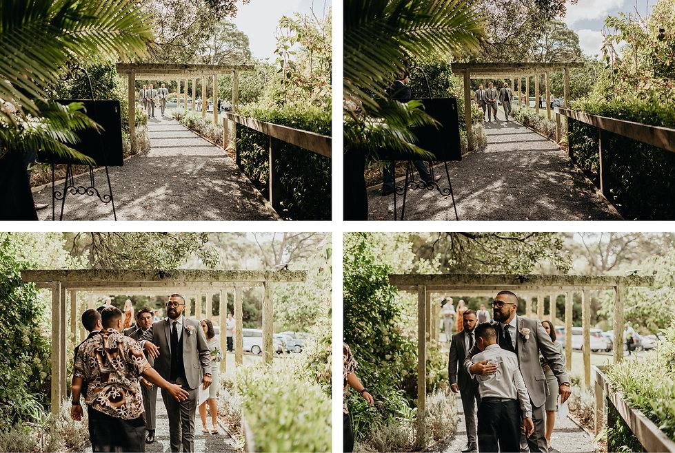 groom arrival at bridgewater estate in west auckland, new zealand, wedding venue