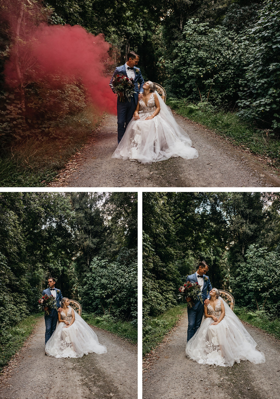 bridal boho photo with peacock chair and smoke bombs, wellington wedding