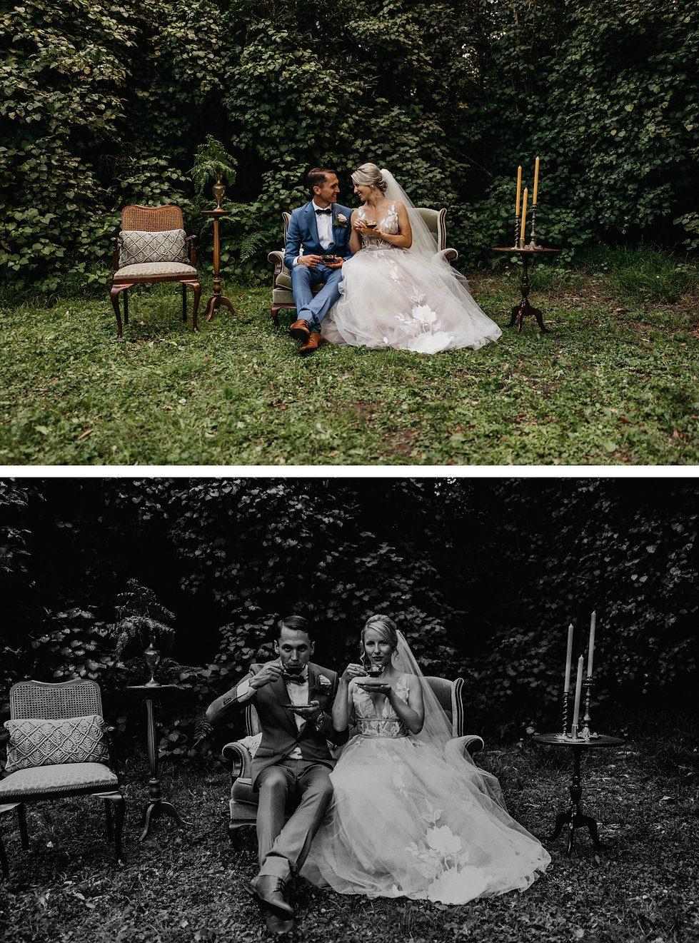 vintage styled wedding photos with couches an tea cups, wellington, new zealand