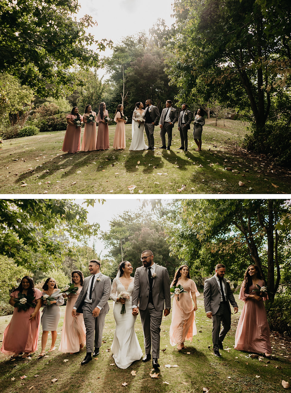 bridal group photos at bridgewater estate in Auckland New Zealand, captured by wanderlusting lovers