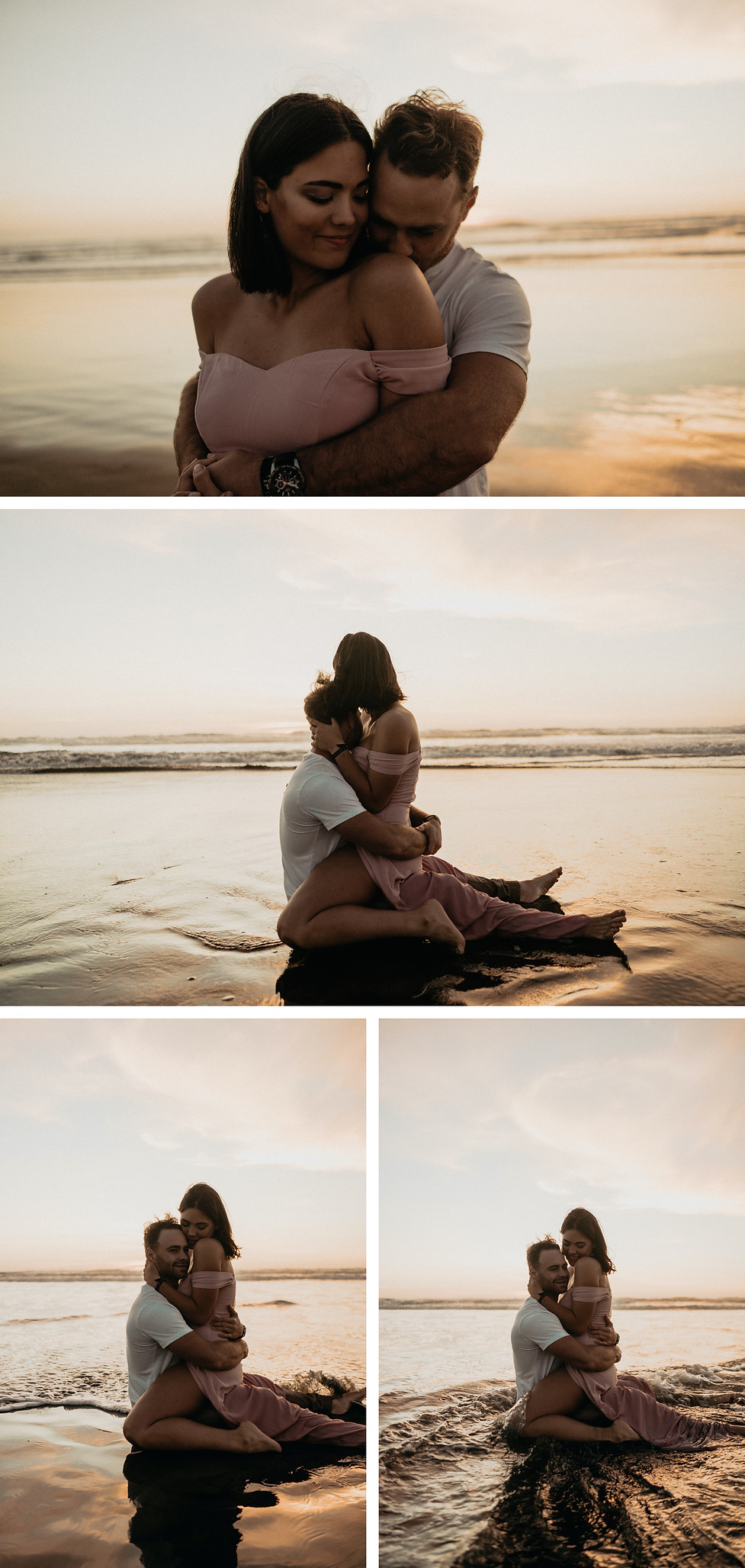 Sunset lovers session at Muriwai Beach, with puppers captured by wanderlusting lovers