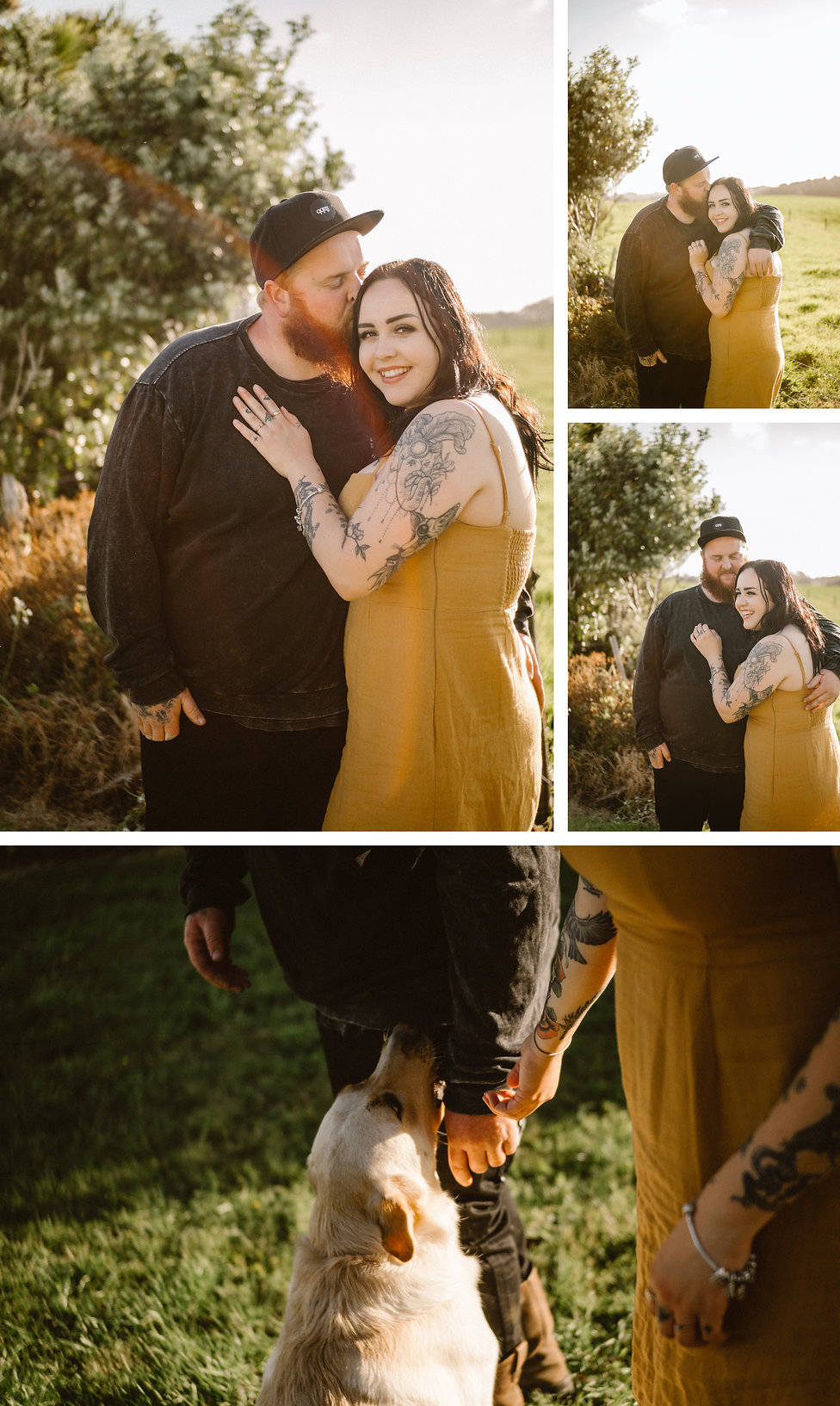 engagement session with doggo in waiuku, auckland, new zealand, wanderlusting lovers
