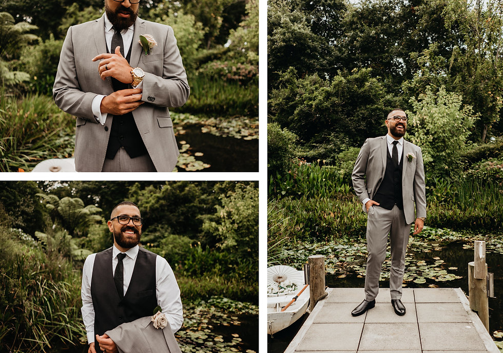 bridal photos at bridgewater estate in Auckland New Zealand, captured by wanderlusting lovers, groom