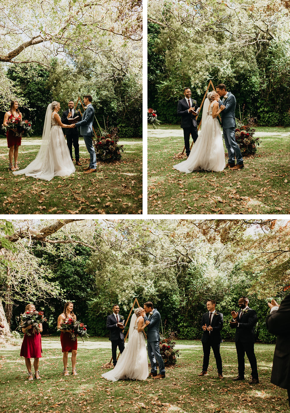 wedding ceremony at rose & smith in featherston, captured by wanderlusting lovers, first kiss
