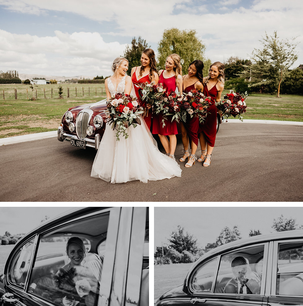 featherson summer wedding, bride and bridesmaids photos, mismatched red dresses, wellington vintage car hire