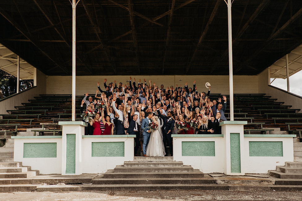 group photo captured at rose & smith, wellington wedding venue