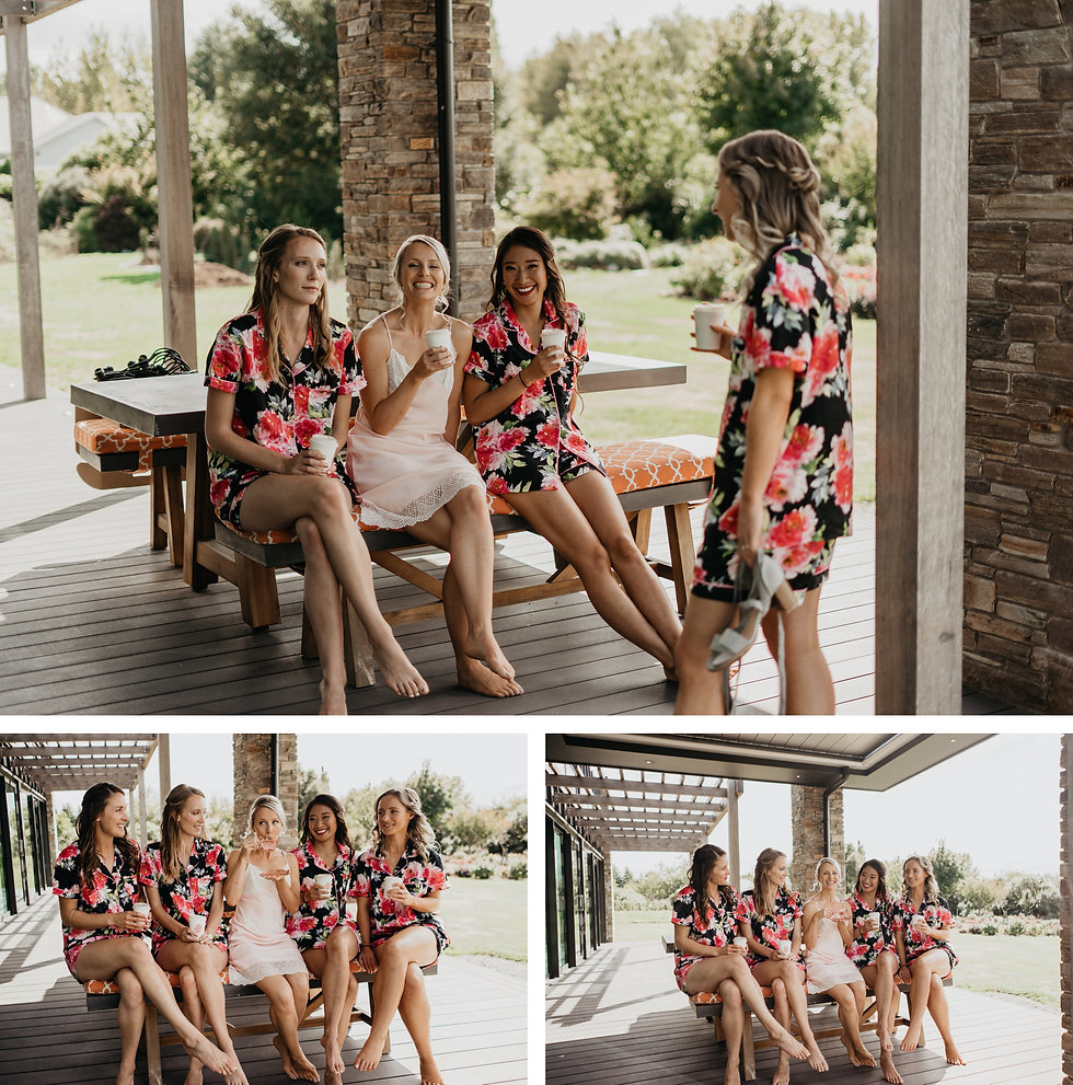bridal prep for wellington wedding, bridesmaids pjs, wanderlusting lovers
