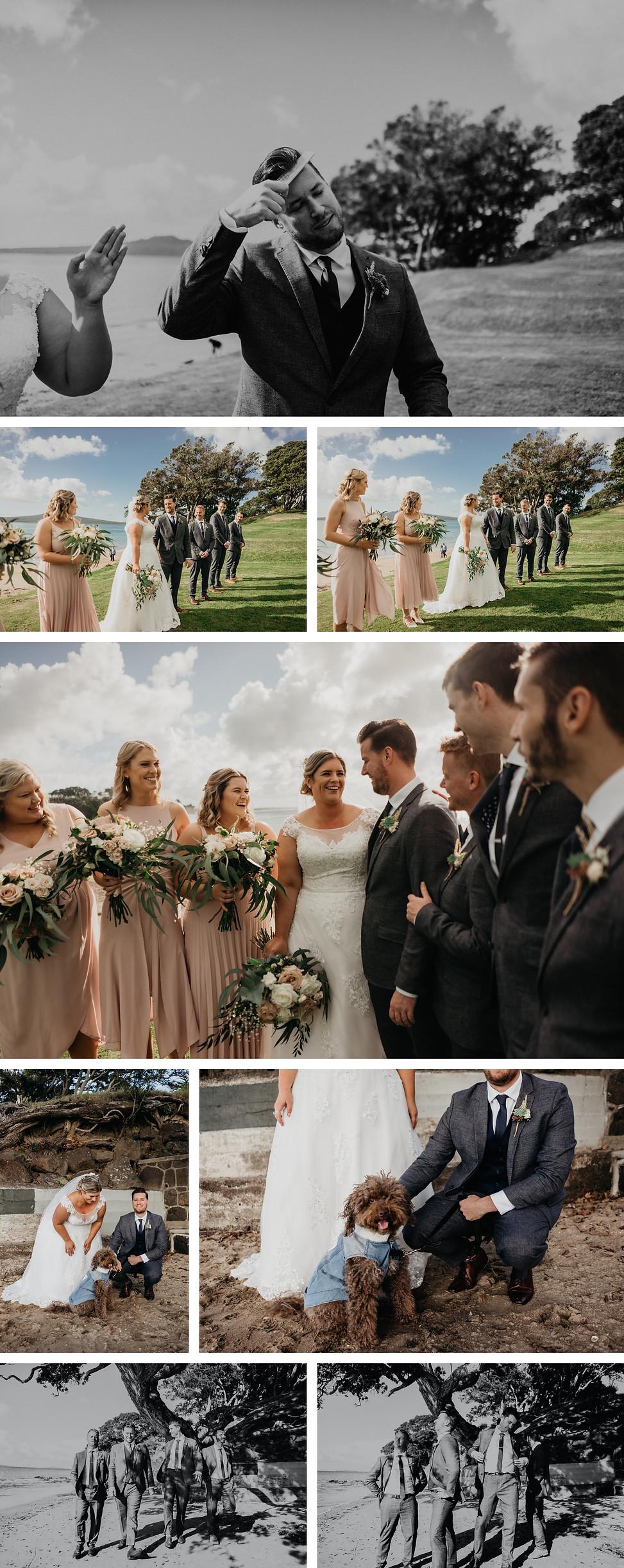 bridal group photos captured in narrow neck beach, groom, bride, dog bridal party photo