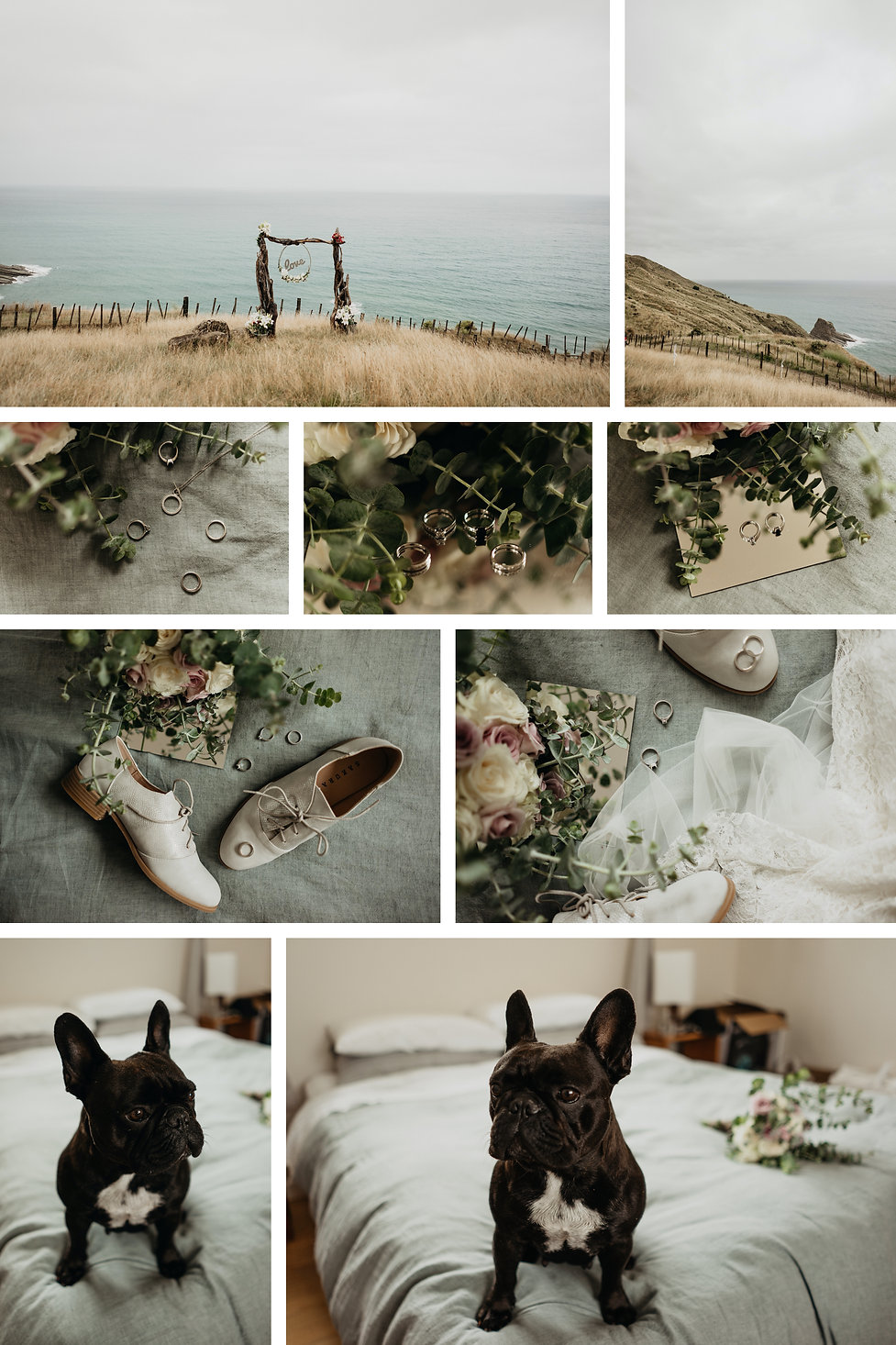 intimate same sex wedding in Mahia, New Zealand, the quarters on te au farm, frenchies, dog in wedding party
