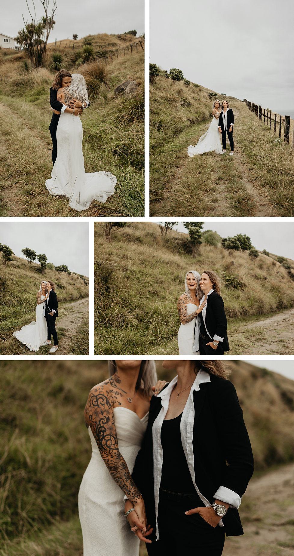 same sex bridal photos with french bull dog in Mahia New Zealand